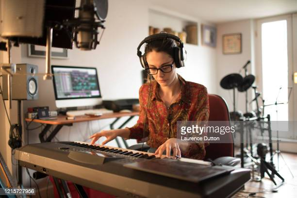 keyboard player pianist home studio - making stock pictures, royalty-free photos & images