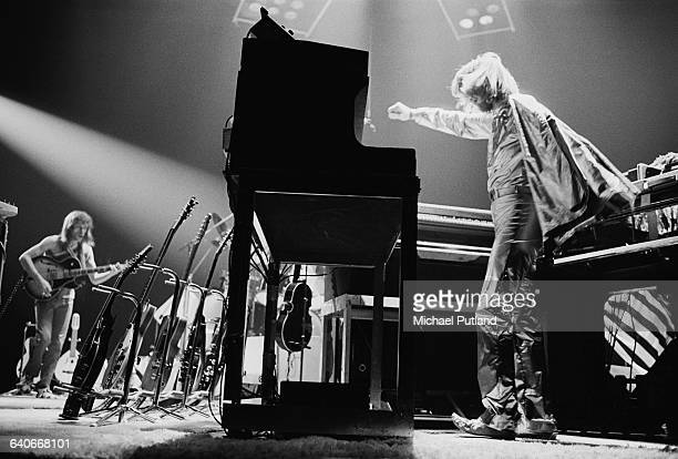 Keyboard player Rick Wakeman and guitarist Steve Howe performing with English progressive rock group Yes at Madison Square Garden New York City...