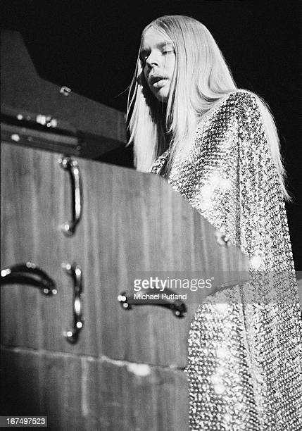 Keyboard player Rick Wakeman performing with English progressive rock group Yes at the Rainbow Theatre London 17th December 1972