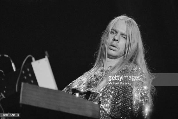 Keyboard player Rick Wakeman performing with English progressive rock group Yes 24th November 1973