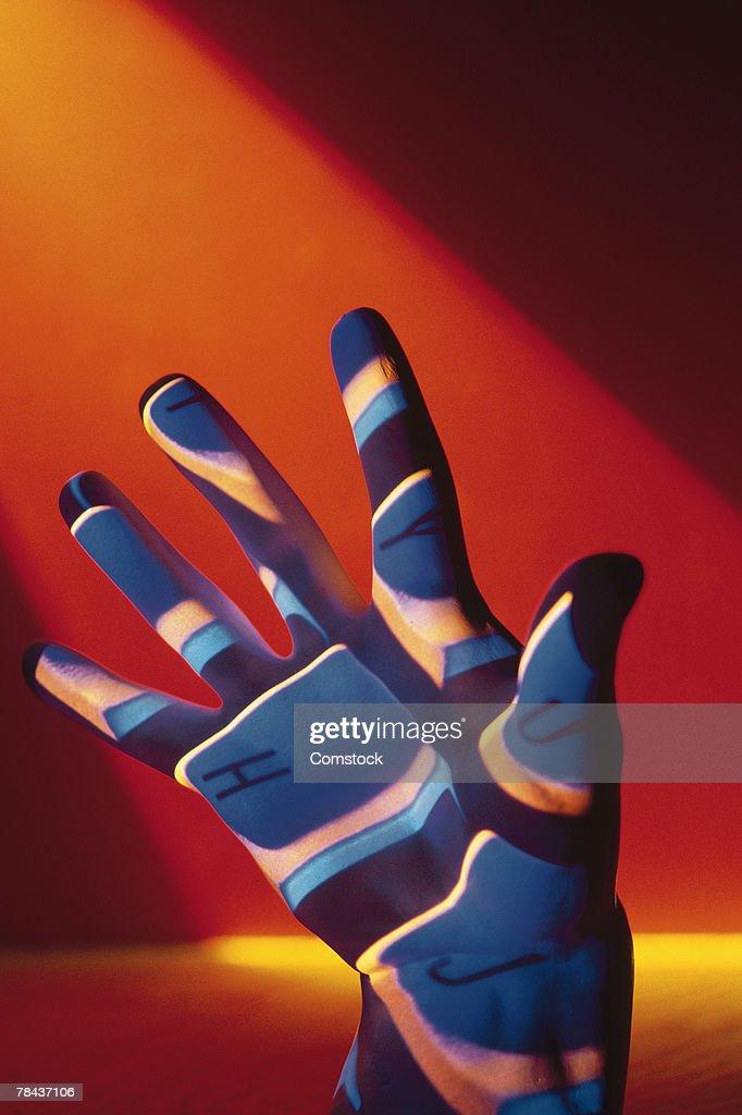 Keyboard projected onto hand : Stockfoto