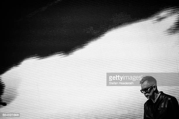 Keyboarder Andrew Fletcher of Depeche Mode performs live on stage during Telekom Street Gig at Funkhaus Berlin on March 17 2017 in Berlin Germany