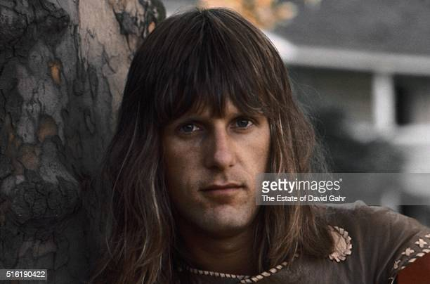 Keyboardist and composer Keith Emerson of progressive rock group Emerson, Lake, and Palmer poses for a portrait in August 1971 in Danbury,...
