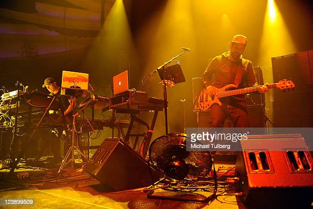 Keyboardist Aron Magner and bassist Marc Brownstein of Disco Biscuits perform at the IDentity Electronic Music Festival at the Hollywood Palladium on...