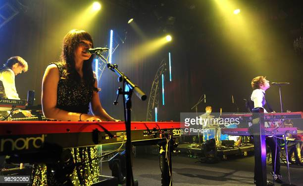 Keyboardist Breanne Duren and Musician Adam Young of Owl City perform at The Fillmore on April 5 2010 in San Francisco California