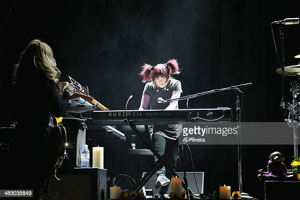 Keyboardist Debbie Shair and Heart performs at Bergen Performing Arts Center on April 5 2014 in Englewood New Jersey