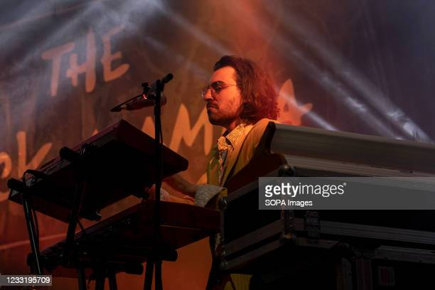 Keyboardist Guilherme Salgueiro of The Black Mamba band performs at a concert at the Super Bock Arena in Porto.