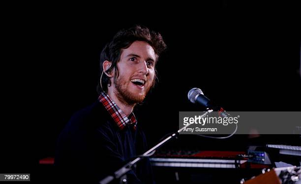 Keyboardist Jesse Carmichael from Maroon 5 performs at The Apple Soho Store February 24 2008 in New York City