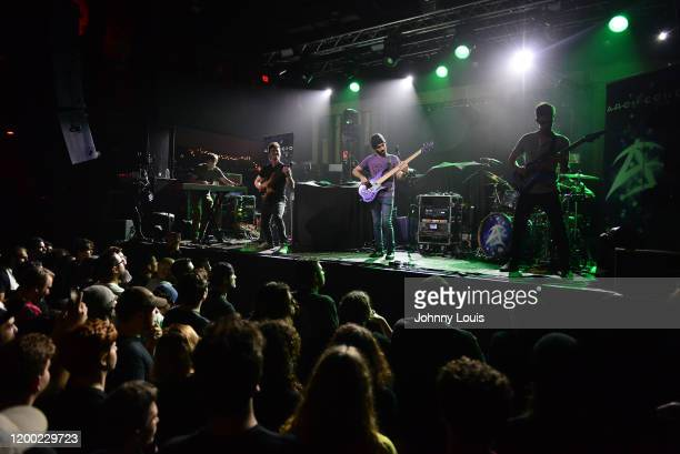 Keyboardist Joey Izzo Guitarist Adam Rafowitz Bassist Joe Calderone Drummer Richie Martinez and Guitarist Adam Bentley of Arch Echo performs at...