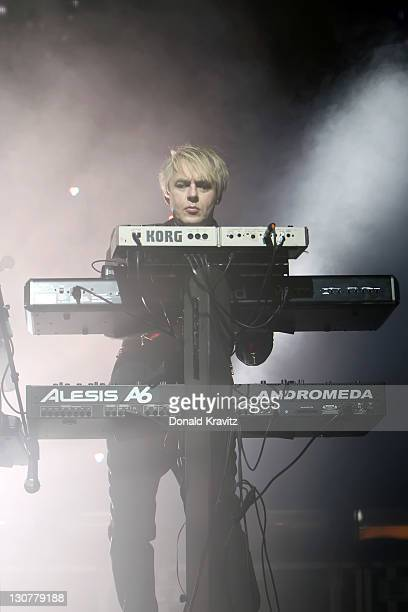 Keyboardist Nick Rhodes of Duran Duran performs at The Borgata Event Center on October 29 2011 in Atlantic City New Jersey