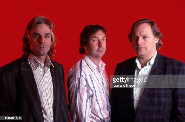 Keyboardist Richar Wright drummer and founding member Nick Mason and guitarist singer and songwriter Davcid Gilmour all members of Pink Floyd pose...