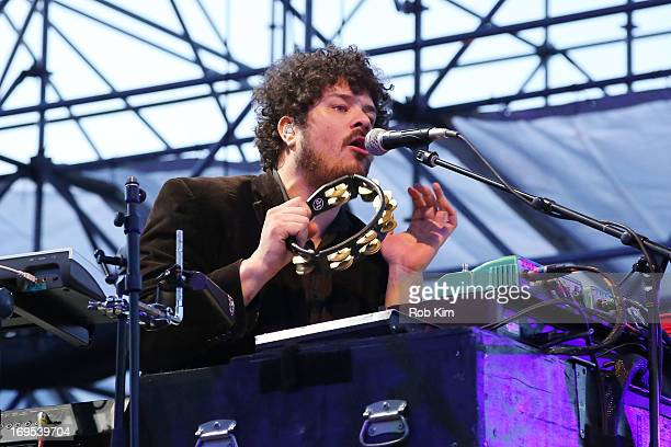 Keyboardist Richard Swift of The Shins performs at Williamsburg Park on May 26 2013 in Brooklyn New York