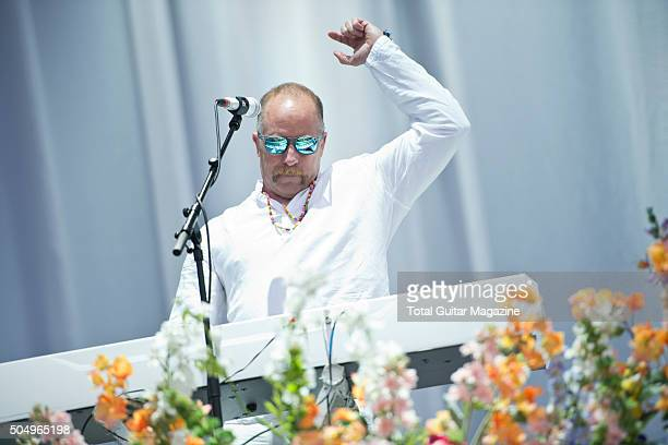 Keyboardist Roddy Bottum of American hard rock group Faith No More performing live on the Main Stage at Download Festival, on June 13, 2015.