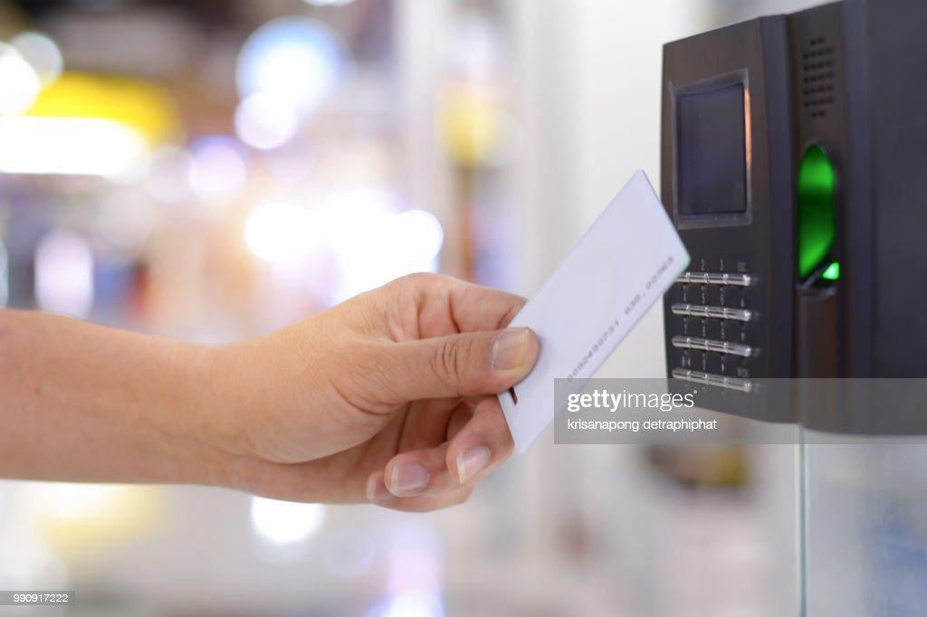 Keycard and Digital door lock ,electronic reader with fingerprint scanner,fingerprint : Stock-Foto