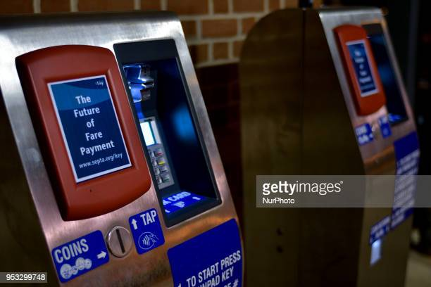 Keycard readers for fare payment are located on the platform of SEPTA's Lanhorne commuter rail station in the Philadelphia PA Suburbs on February 27...