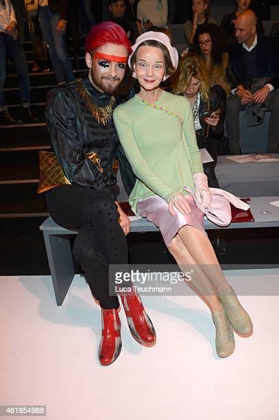 Keye Katcher and Britt Kania attend the Use Unused show during the MercedesBenz Fashion Week Berlin Autumn/Winter 2015/16 at Brandenburg Gate on...