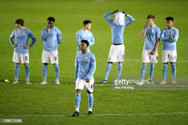 Keyendrah Simmonds of Man City walks to take a penalty in the penalty shoot-out, which he went on to missduring the EFL Trophy match between Lincoln...