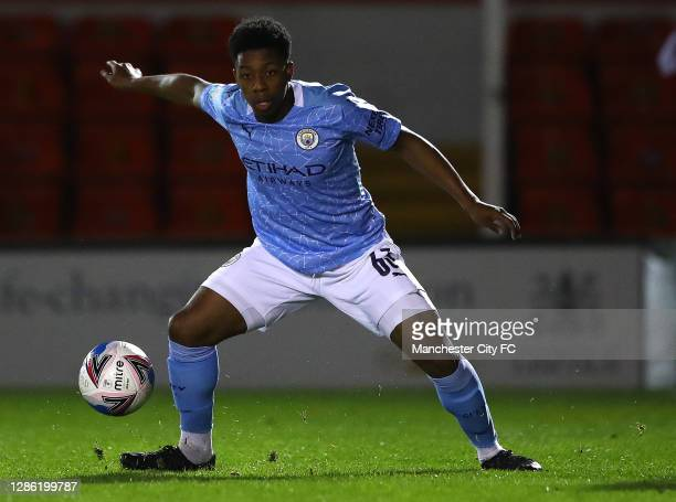 Keyendrah Simmonds of Manchester City U21 in action during the EFL Trophy match between Lincoln City and Manchester City U21 at Sincil Bank Stadium...