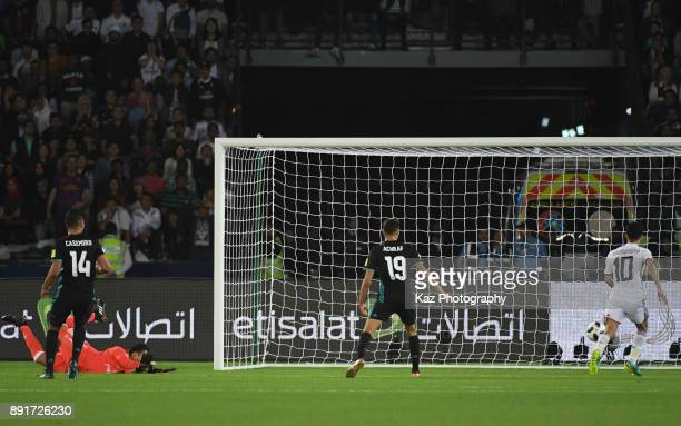 Keyior Navas of Real Madrid CF concedes a goal to Romarinho of Al Jazira during the FIFA Club World Cup semifinal match between Al Jazira an Real...