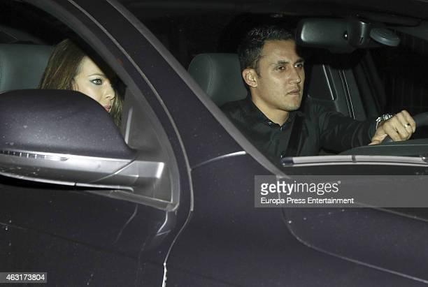Keylor Navas and Andrea Salas are seen arriving at Cristiano Ronaldo's 30th birthday party at In Zalacain restaurant on February 7 2015 in Madrid...