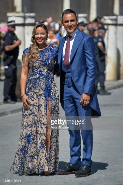 Keylor Navas and wife Andrea Salas attend the wedding of real Madrid football player Sergio Ramos and Tv presenter Pilar Rubio at Seville's Cathedral...