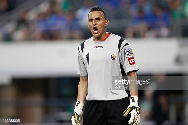 Keylor Navas goalkeeper guesters to his midfielder during the CONCACAF Gold Cup qualifying match against Cuba at Cowboys Stadium on June 5 2011 in...