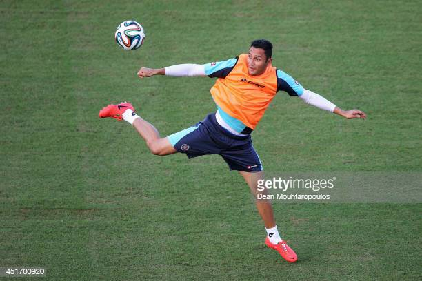 Keylor Navas in action during the Costa Rica training ahead of the 2014 FIFA World Cup quarter final match between the Netherlands and Costa Rica...