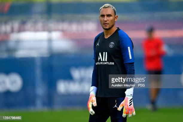 Keylor Navas looks on during a Paris Saint-Germain training session at Ooredoo center on July 07, 2020 in Paris, France.