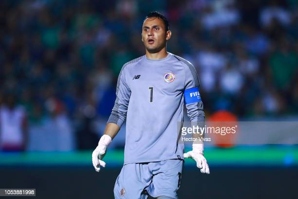 Keylor Navas of Costa Rica looks on during the international friendly match between Mexico and Costa Rica at Universitario Stadium on October 11,...
