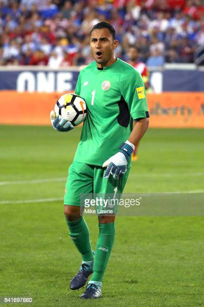 Keylor Navas of Costa Rica reacts in the first half against the United States during the FIFA 2018 World Cup Qualifier at Red Bull Arena on September...