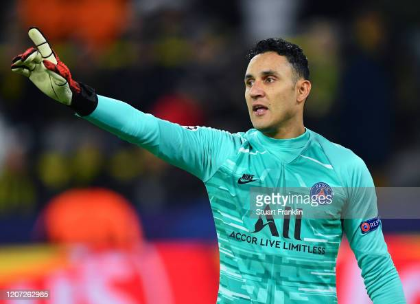 Keylor Navas of Paris Saint German in action during the UEFA Champions League round of 16 first leg match between Borussia Dortmund and Paris...