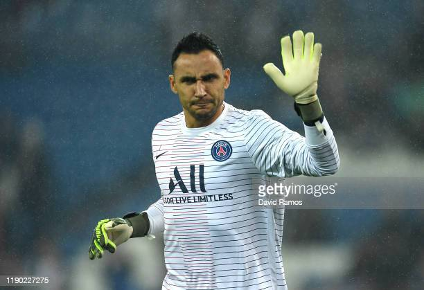 Keylor Navas of Paris Saint-Germain acknowledges the fans prior to the UEFA Champions League group A match between Real Madrid and Paris...