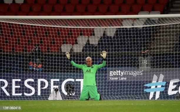 Keylor Navas of Paris SaintGermain prays during the UEFA Champions League Group H stage match between Paris SaintGermain and Manchester United at...