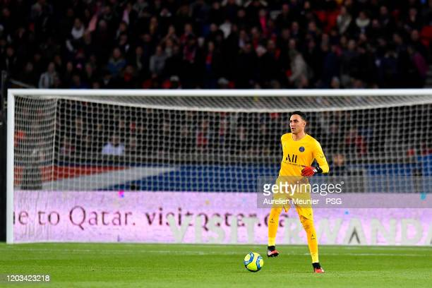 Keylor Navas of Paris Saint-Germain runs with the ball during the Ligue 1 match between Paris Saint-Germain and Montpellier HSC at Parc des Princes...