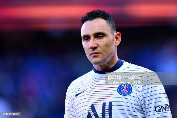 Keylor Navas of Paris Saint-Germain warms up before the Ligue 1 match between Paris Saint-Germain and Dijon FCO at Parc des Princes on February 29,...