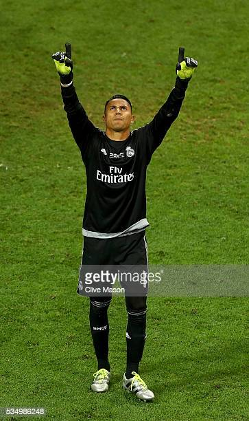 Keylor Navas of Real Madrid celebrates afterJuanfran of Atletico Madrid misses the penalty during the UEFA Champions League Final match between Real...