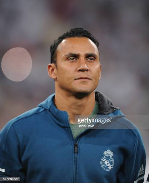 Keylor Navas of Real Madrid CF linesup for during the UEFA Champions League group H match between Real Madrid and APOEL Nikosia at Estadio Santiago...