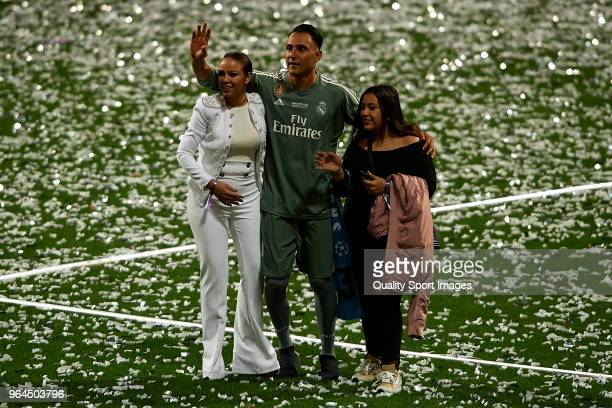 Keylor Navas of Real Madrid his wife Andrea Salas and their daughter Daniela Navas Salas during Real Madrid team celebration at Santiago Bernabeu...