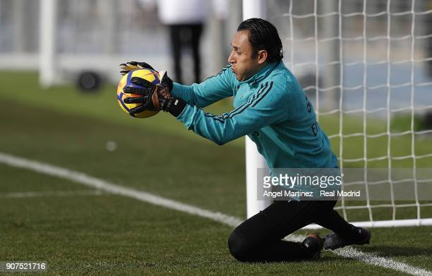 Keylor Navas of Real Madrid in action during a training session at Valdebebas training ground on January 20 2018 in Madrid Spain