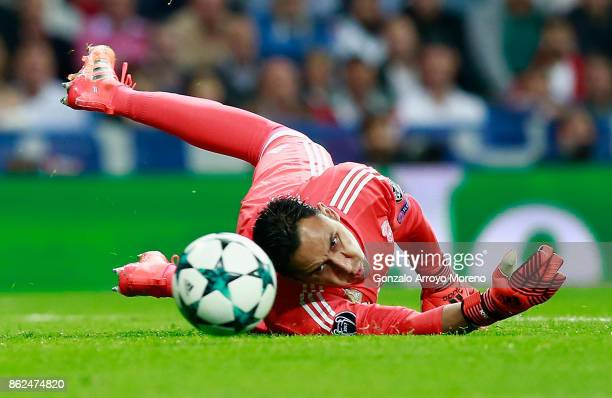 Keylor Navas of Real Madrid in action during the UEFA Champions League group H match between Real Madrid and Tottenham Hotspur at Estadio Santiago...