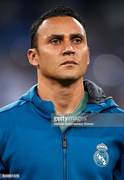 Keylor Navas of Real Madrid looks on prior to the UEFA Champions League group H match between Real Madrid and APOEL Nikosia at Estadio Santiago...