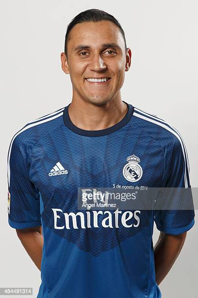 Keylor Navas of Real Madrid poses during a portrait session at Valdebebas training ground on September 1 2014 in Madrid Spain