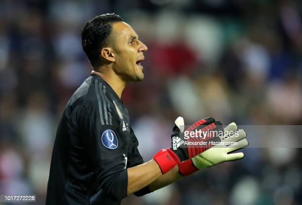 Keylor Navas of Real Madrid reacts during the UEFA Super Cup between Real Madrid and Atletico Madrid at Lillekula Stadium on August 15 2018 in...