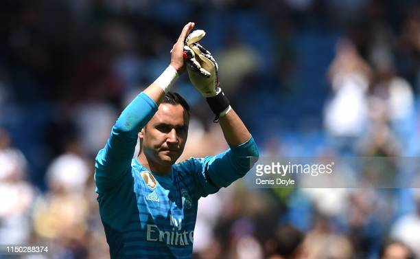 Keylor Navas of Real Madrid salutes fans at the end of the La Liga match between Real Madrid CF and Real Betis Balompie at Estadio Santiago Bernabeu...
