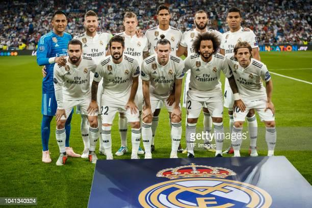 Keylor Navas of Real Madrid Sergio Ramos of Real Madrid Toni Kroos of Real Madrid Raphael Varane of Real Madrid Karim Benzema of Real Madrid Casemiro...