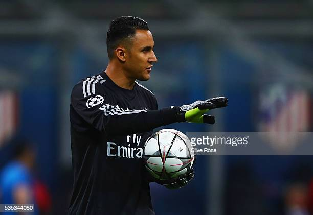 Keylor Navas of Real Madrid signals during the UEFA Champions League Final match between Real Madrid and Club Atletico de Madrid at Stadio Giuseppe...