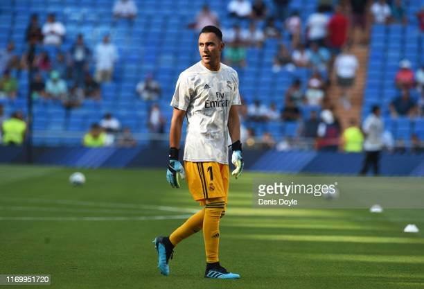 Keylor Navas of Real Madrid warms up during the Liga match between Real Madrid CF and Real Valladolid CF at Estadio Santiago Bernabeu on August 24,...