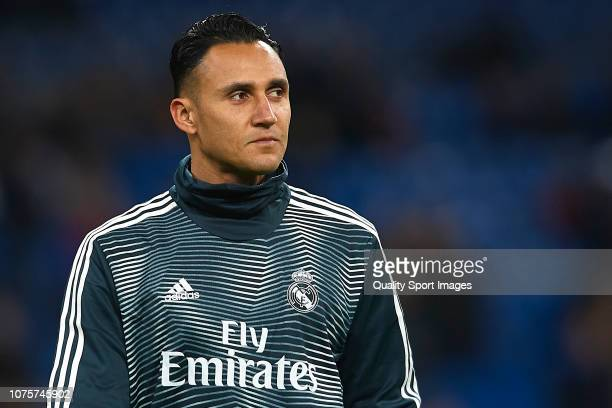 Keylor Navas of Real Madrid warms up prior to the La Liga match between Real Madrid CF and Valencia CF at Estadio Santiago Bernabeu on December 01...
