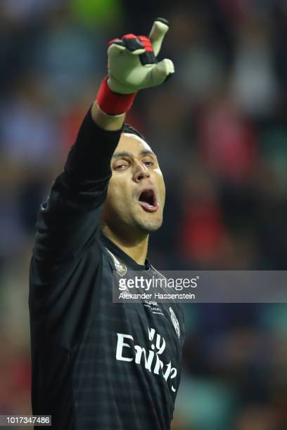 Keylor Navas of Real reacts during the UEFA Super Cup between Real Madrid and Atletico Madrid at Lillekula Stadium on August 15 2018 in Tallinn...