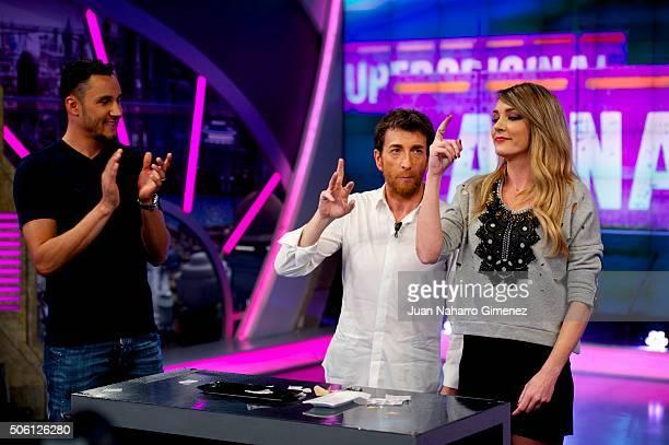 Keylor Navas, Pablo Motos and Anna Simon attend 'El Hormiguero' Tv show at Vertice Studio on January 21, 2016 in Madrid, Spain.